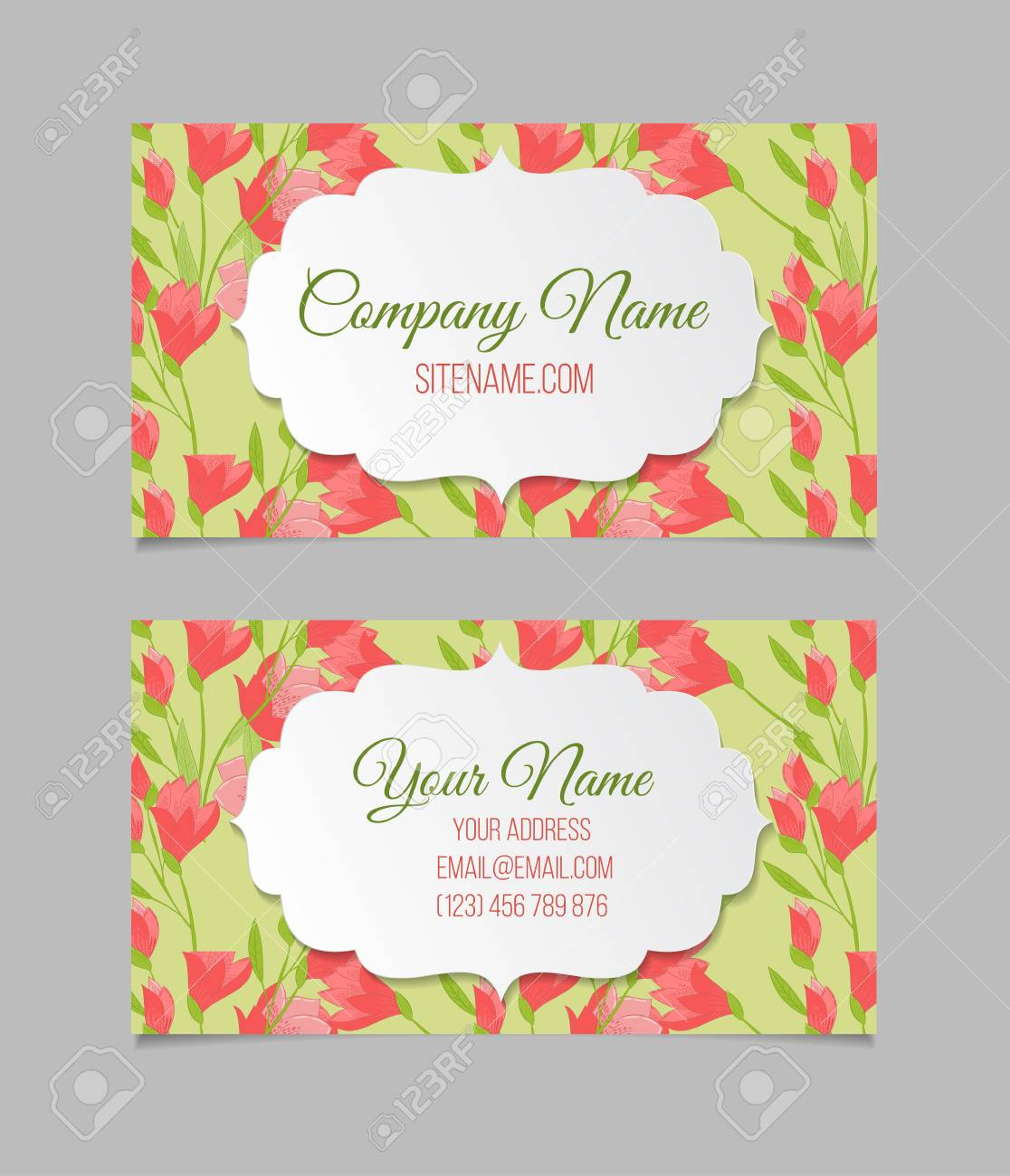 Double sided floral business card template with tulips royalty free double sided floral business card template with tulips stock vector 51880445 accmission Choice Image