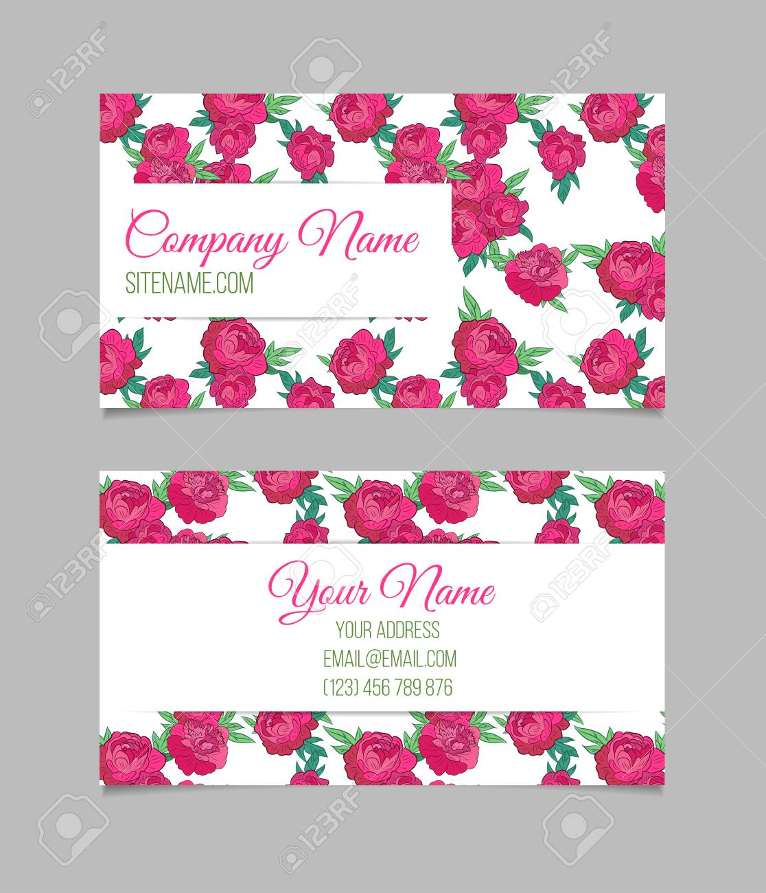 Double sided floral business card template with beautiful peonies double sided floral business card template with beautiful peonies on white background stock vector cheaphphosting Gallery