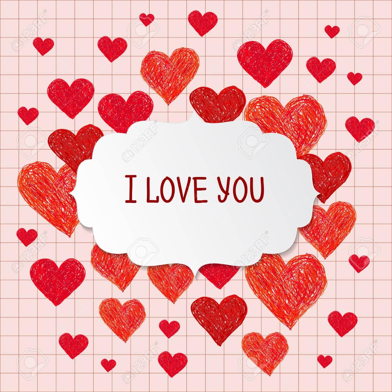 Rahmen Aus Handgezeichneten Roten Herzen Und Platz Für Ihren Text ...