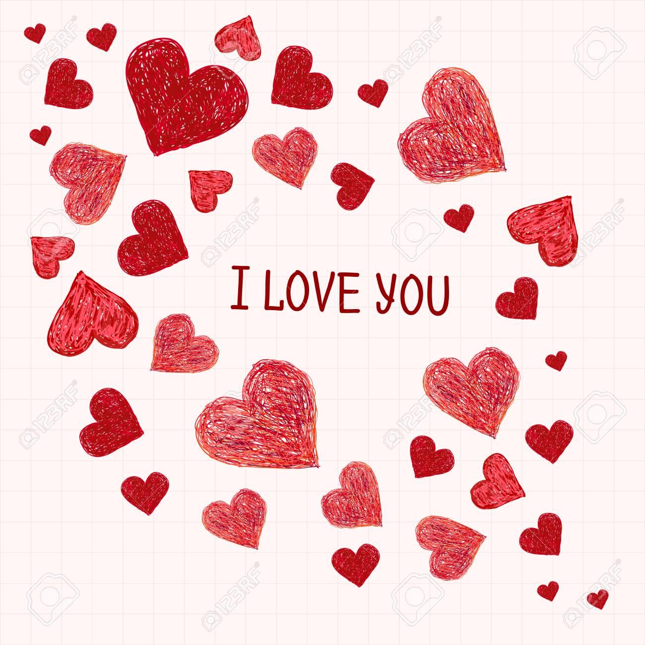 Rahmen Aus Hand Gezeichnet Roten Herzen Und Platz Für Ihren Text ...