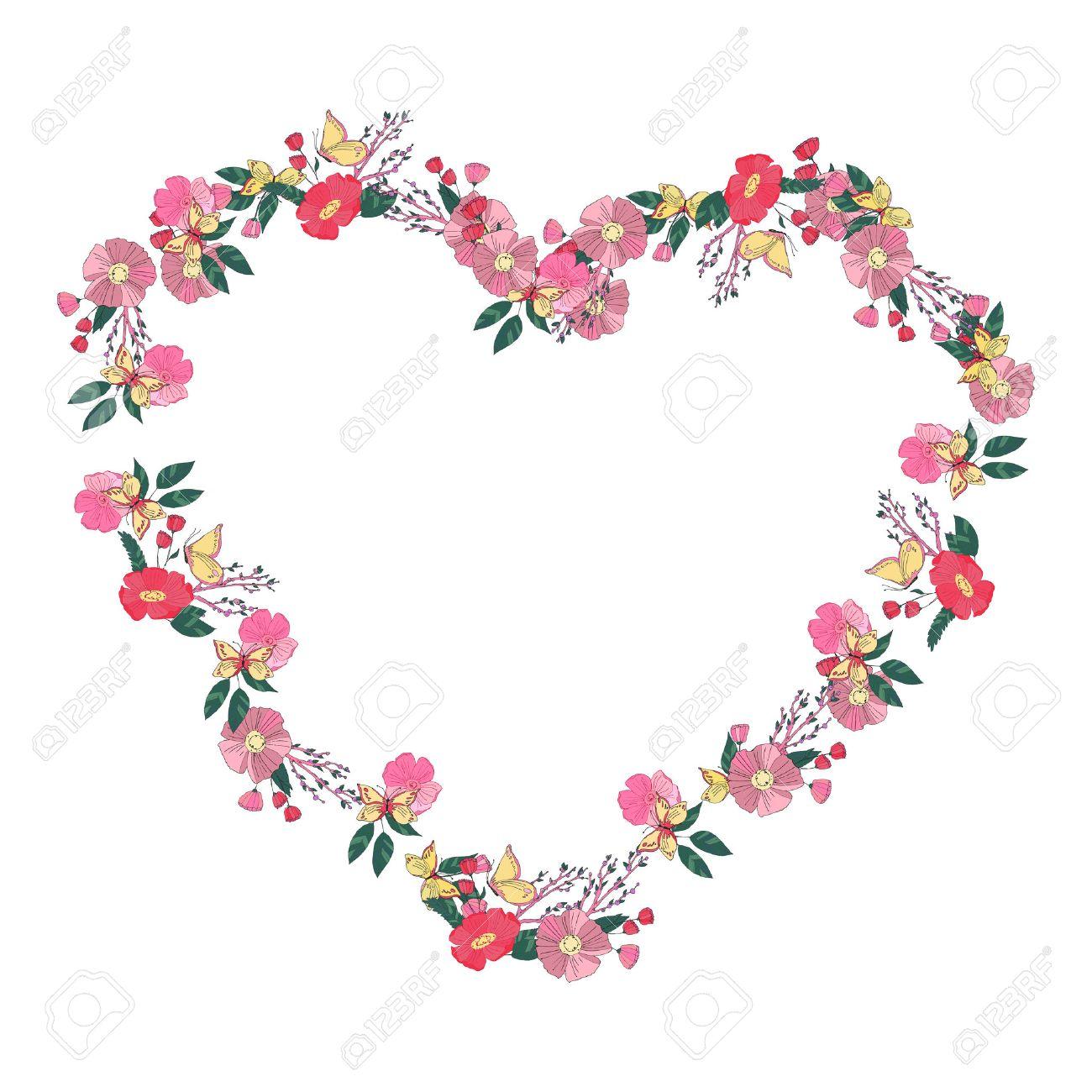 Mano Flores Dibujadas Dispuestos Onu Una Forma De Corazón Corona De
