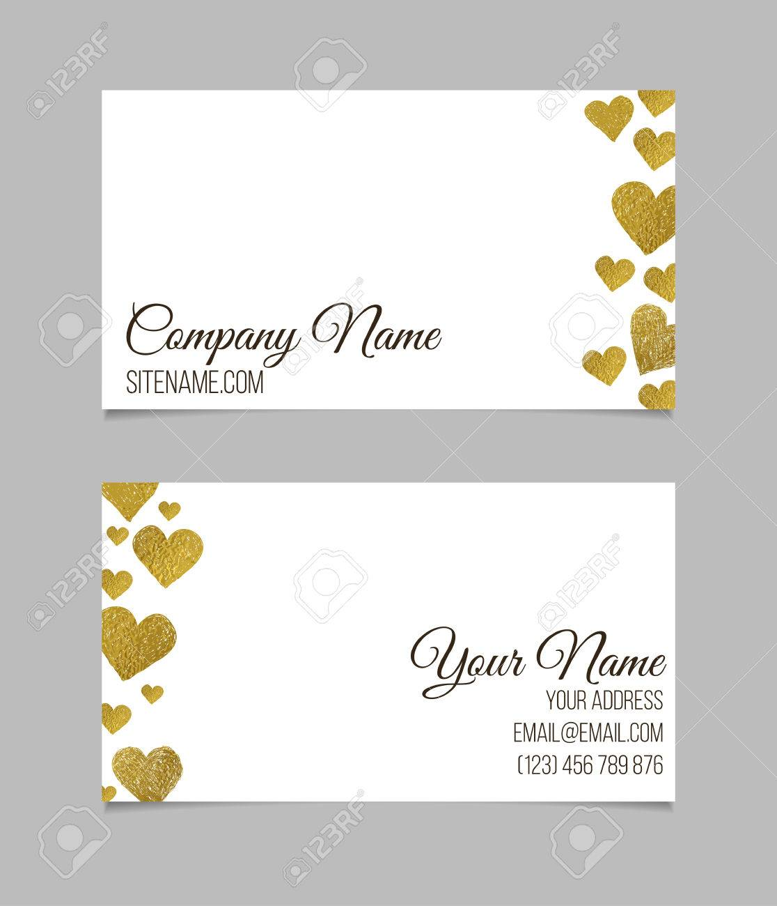 Business card template visiting card with golden foil heart business card template visiting card with golden foil heart shapes on white background double colourmoves