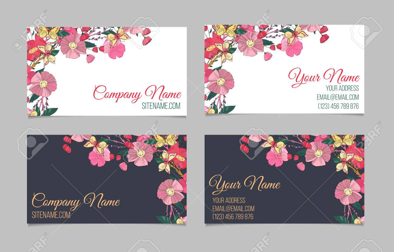 Set of two double sided floral business cards with hand drawn set of two double sided floral business cards with hand drawn flowers and butterfly reheart Gallery