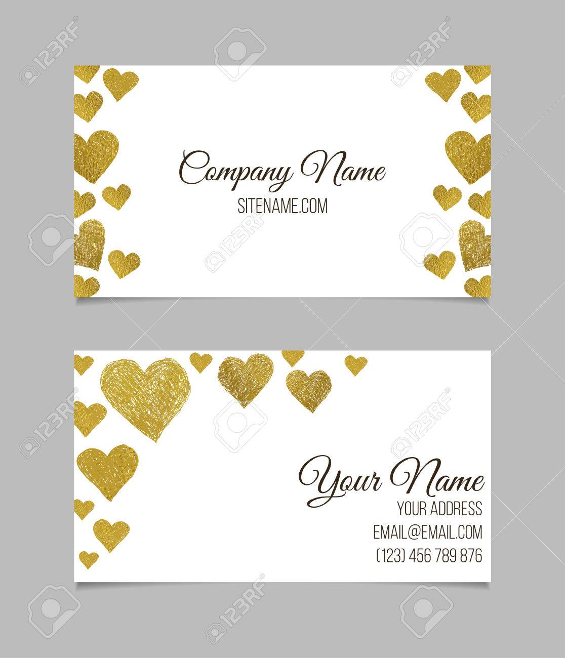 Business Card Template. Visiting Card With Golden Foil Heart ...