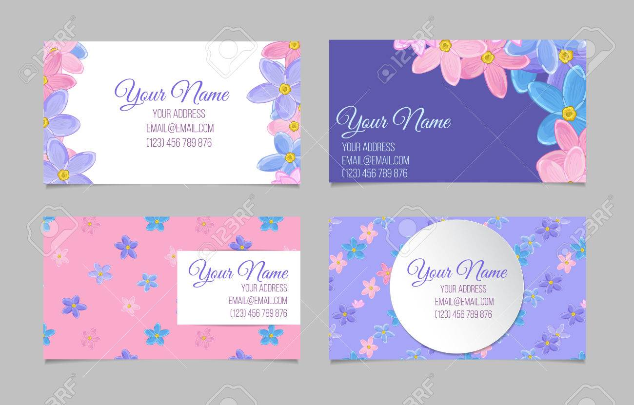 Set Of Eight Four Business Cards With Sweet Forget Me Not Flowers