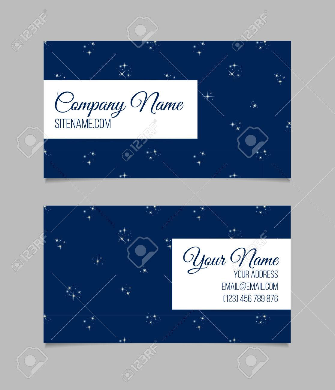 Business Card Template With Stars. Cosmic Background. Universe ...