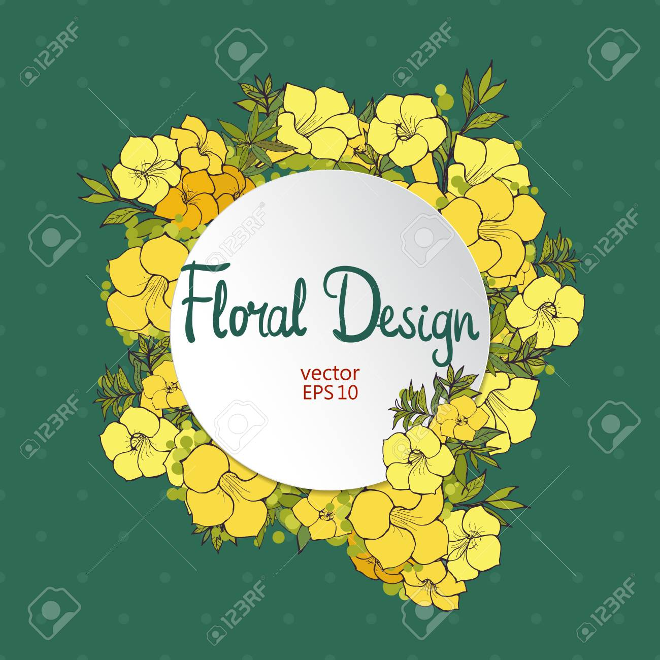 Floral circle vector frame hand drawn exotic yellow flowers hand drawn exotic yellow flowers and place for your text mightylinksfo