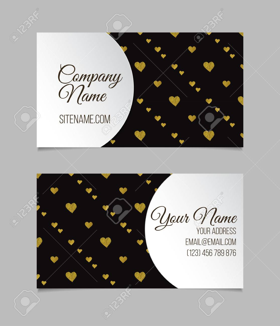 Business card template visiting card with golden foil hearts business card template visiting card with golden foil hearts double sided vector business accmission Gallery