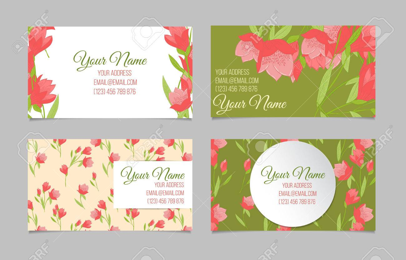 Floral business card set four templates with peonies on green floral business card set four templates with peonies on green white and beige backgrounds cheaphphosting Gallery