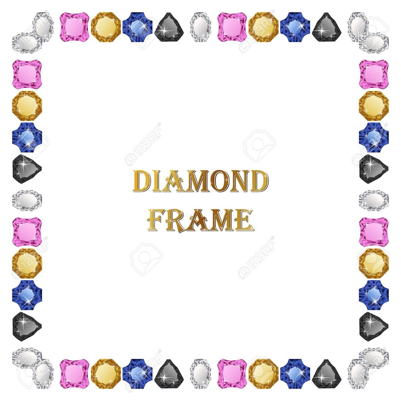 Los Diamantes Marco Cuadrado. Ilustración Vectorial Joyería. Vector ...