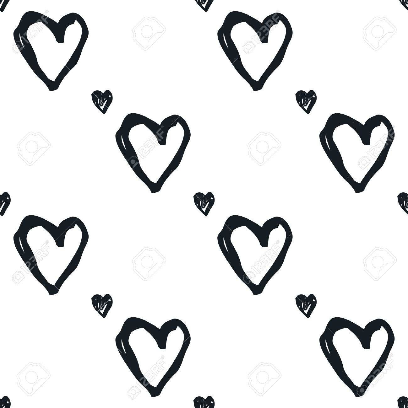 Doodle Seamless Pattern With Hearts Black And White Heart Vector Royalty Free Cliparts Vectors And Stock Illustration Image 57829170