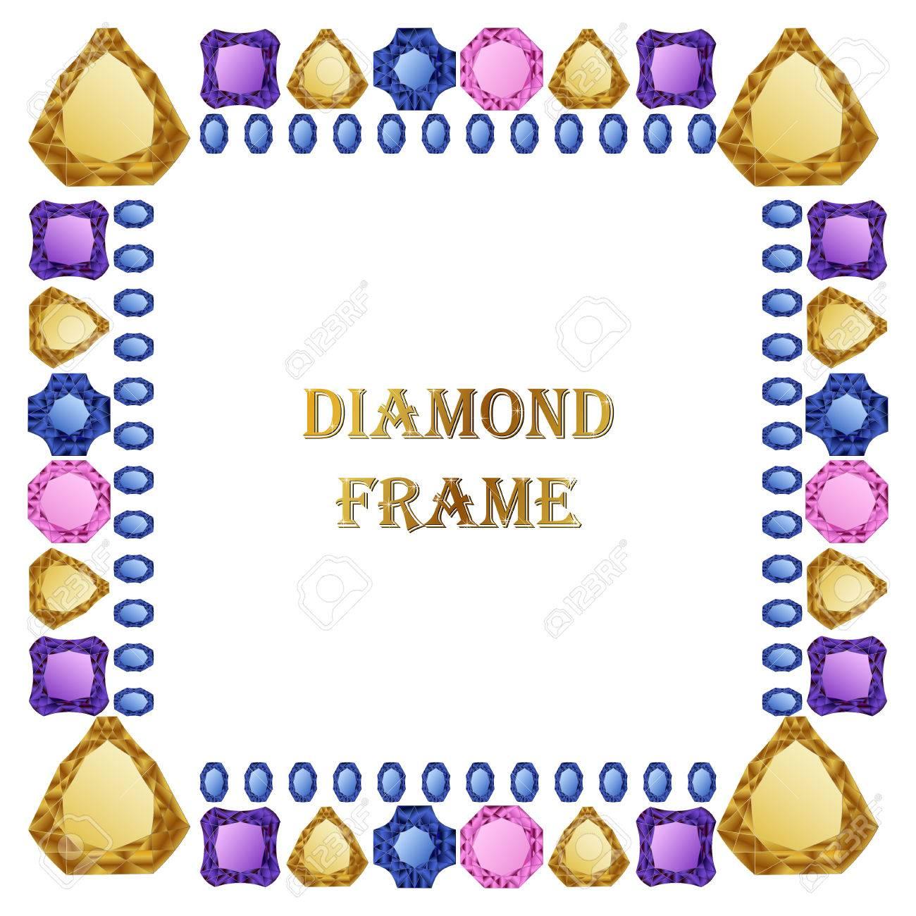 Diamant Quadratischen Rahmen. Vector Jewerly Hintergrund Und Platz ...