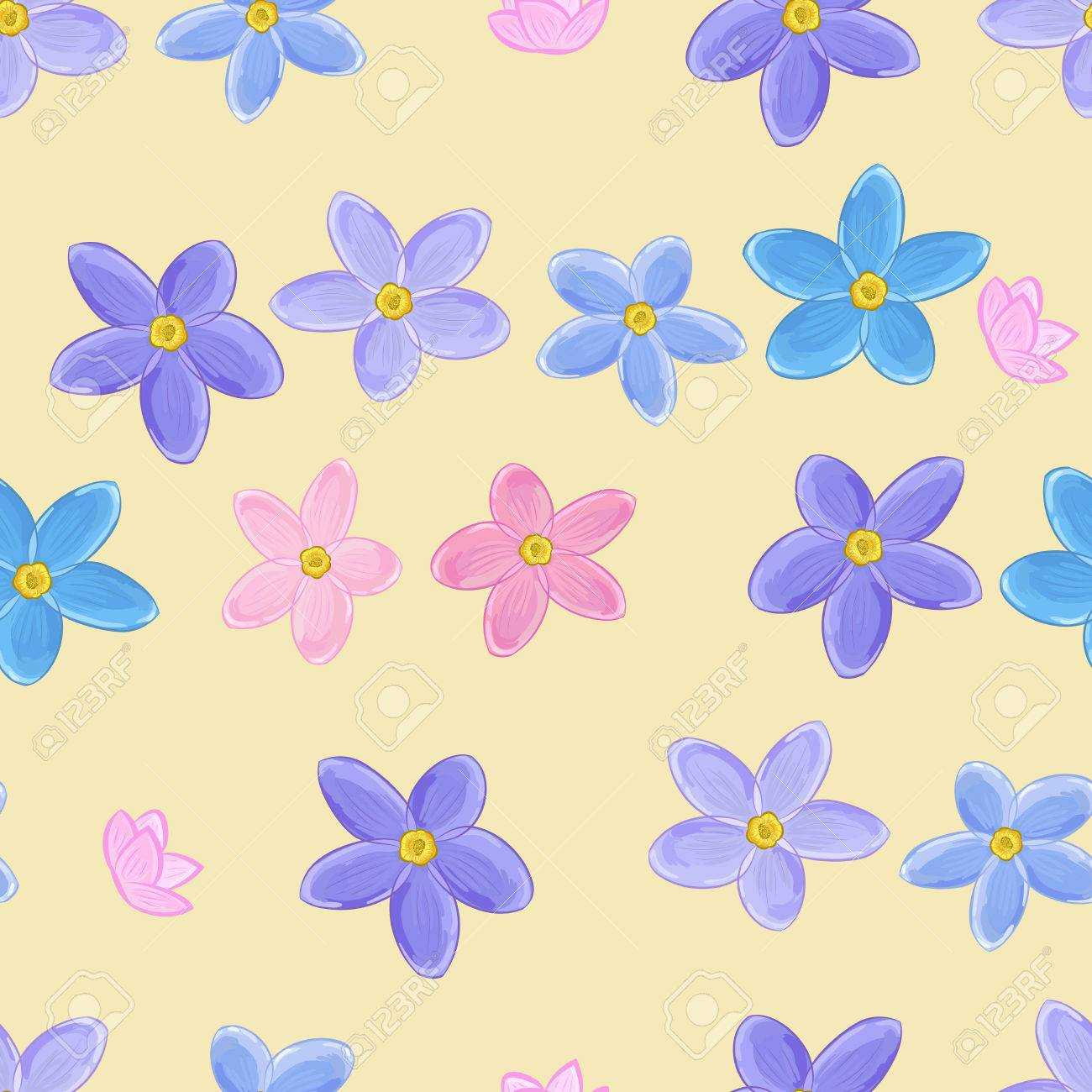 Floral Seamless Pattern With Forget Me Not Forget Me Not Flowers