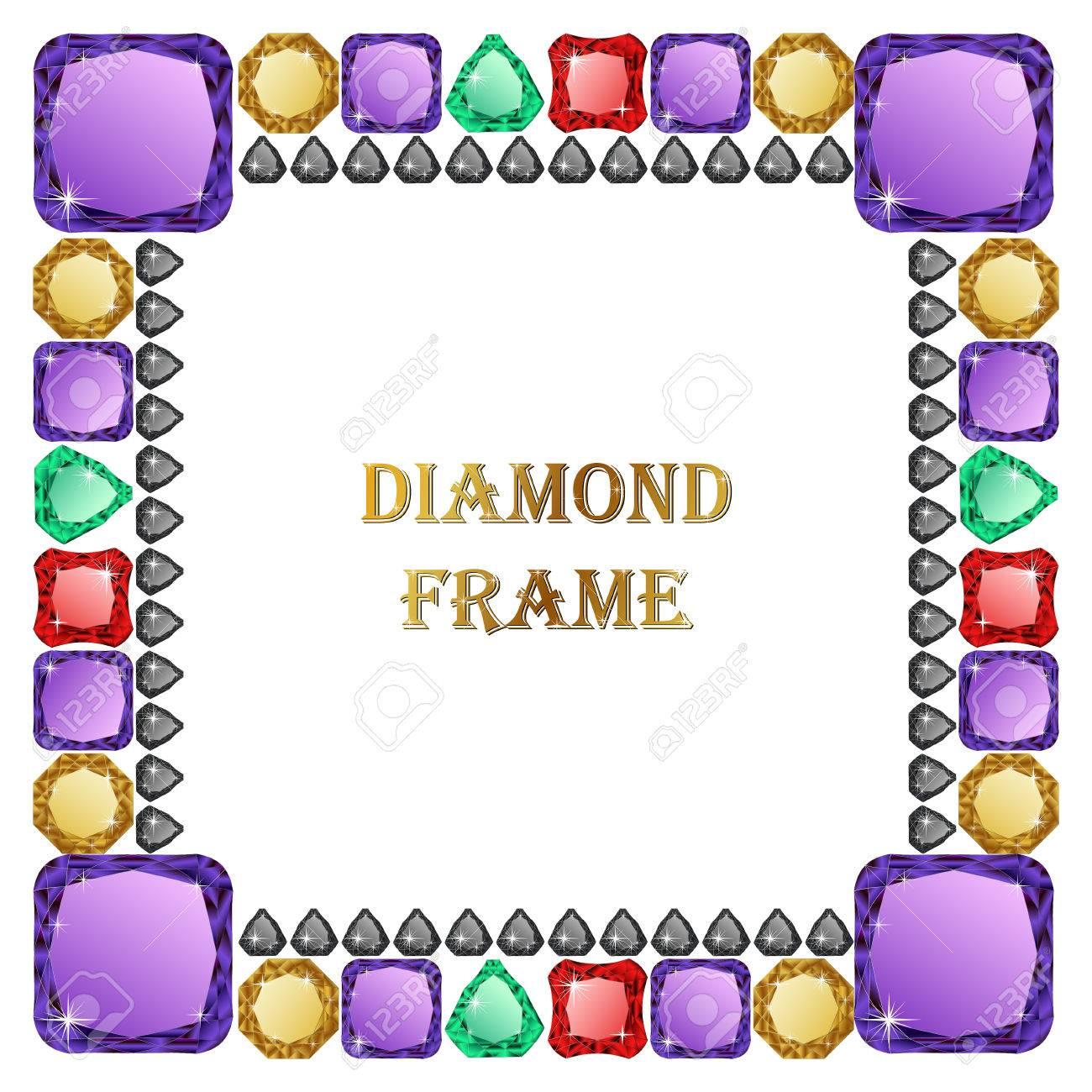 Marco Cuadrado Diamante. Ilustración Vectorial Joyería. Vector ...