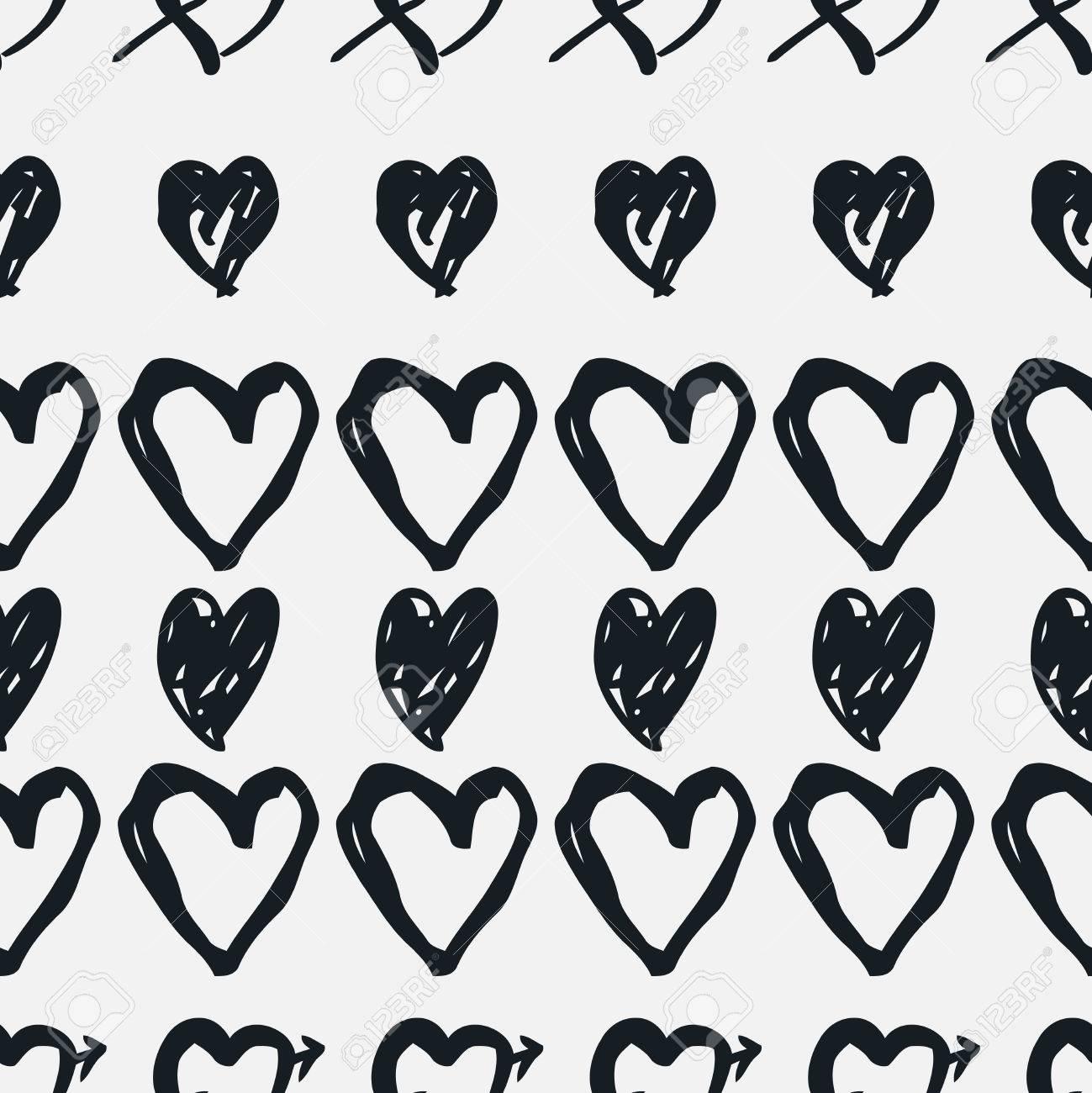 Garabatear Patrón Transparente Con Corazones Corazón Blanco Y Negro