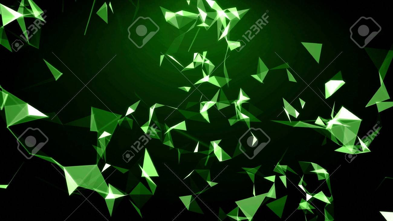 3d Animation Abstract 4k Background Flying Green Triangle Particles