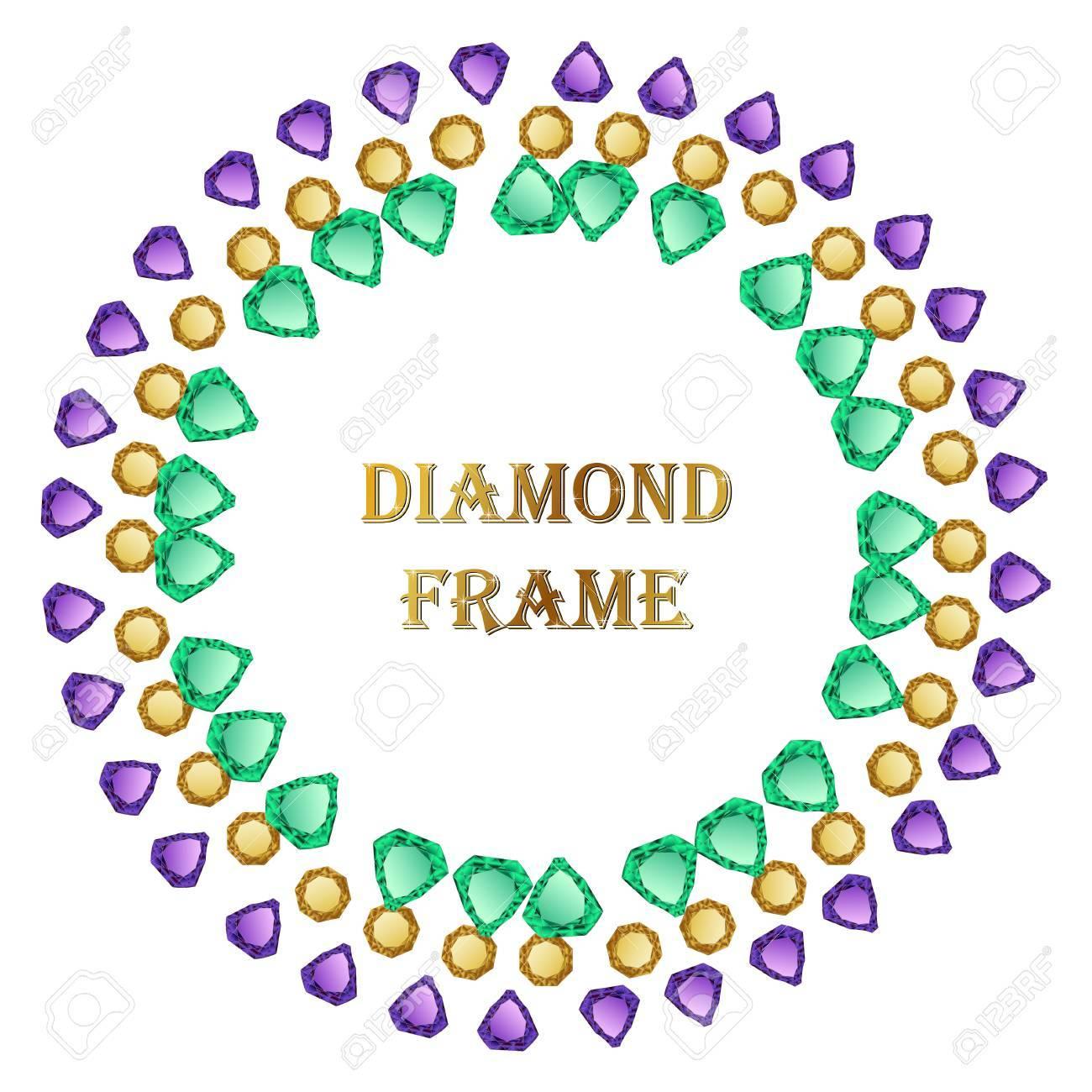 Marco Redondo De Diamante. Fondo De Joyería De Vector Y Lugar Para ...