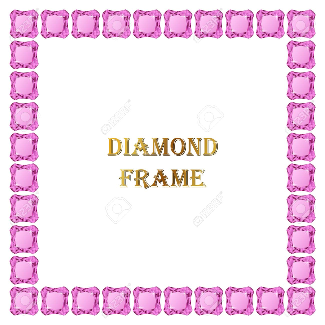 Rosa Diamanten Quadratischen Rahmen. Vektor-Illustration Schmuck ...
