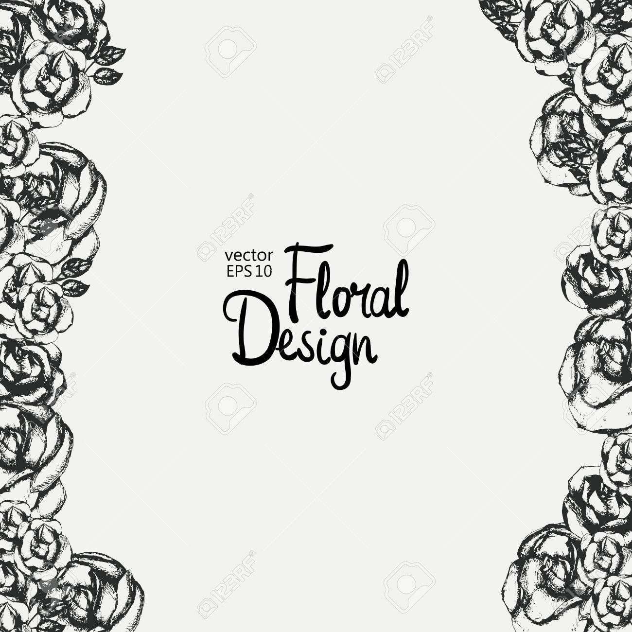 Vintage Floral Vector Frame Black And White Hand Drawn Flowers