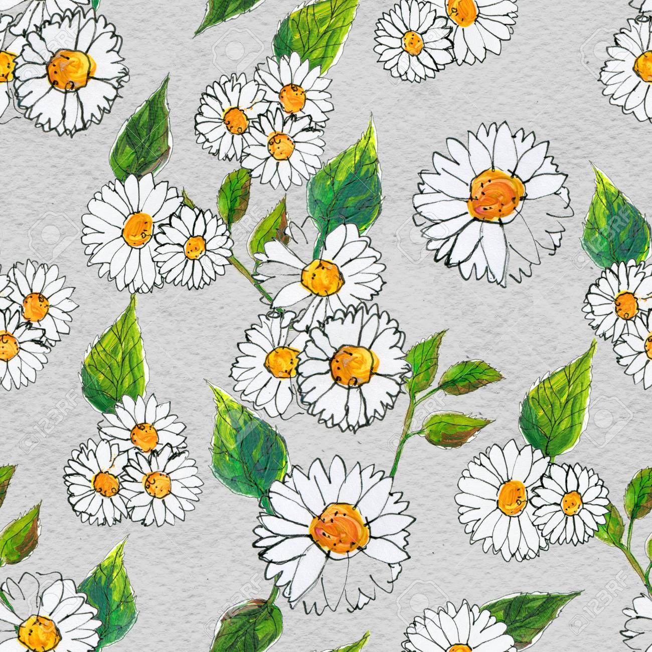 Seamless Floral Pattern With Daisy Flowers Floral Watercolor
