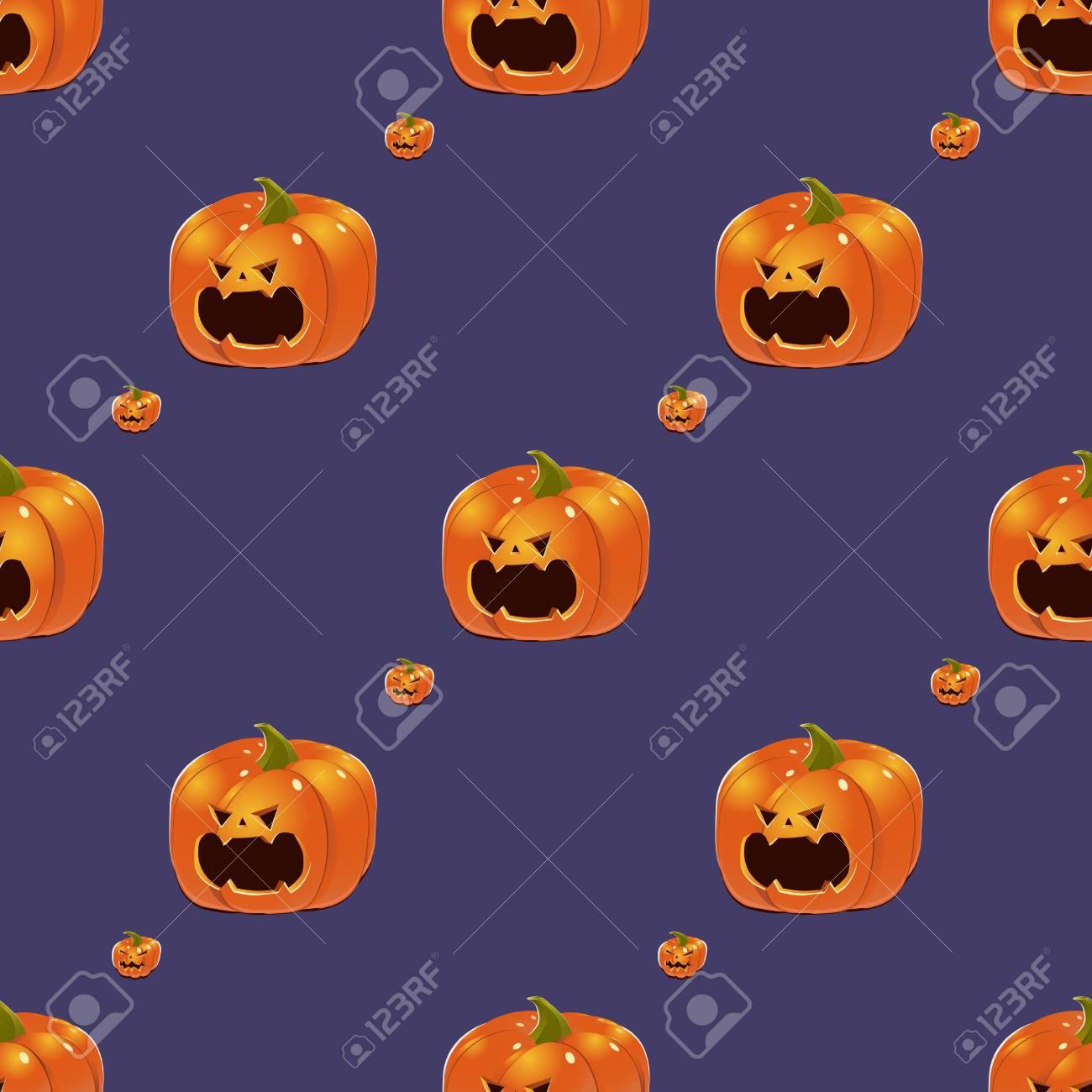 Fondo Violeta De Halloween Con Calabazas De Jack-O-Lantern De Color ...
