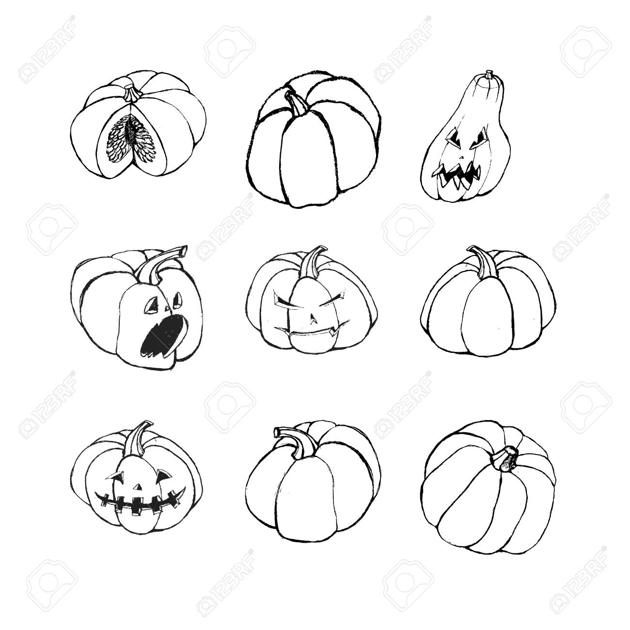 Halloween Set With Scary Jack O Lantern Pumpkins Black And White