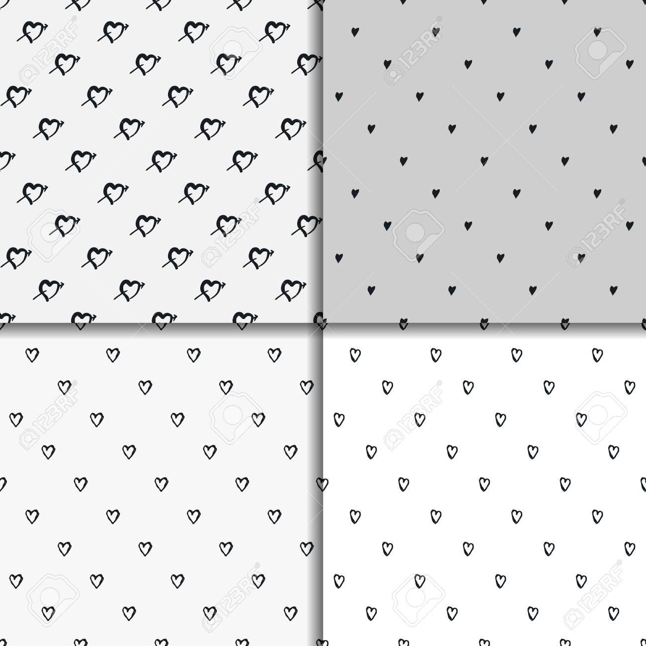 Doodle Seamless Pattern Set With Hearts Vector Valentines Day