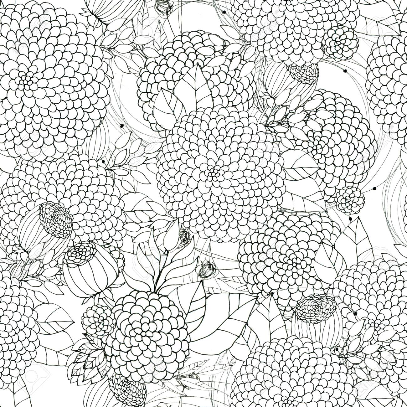 Seamless floral with abstract black and white flowers floral seamless floral with abstract black and white flowers floral outline monochrome background stock photo mightylinksfo