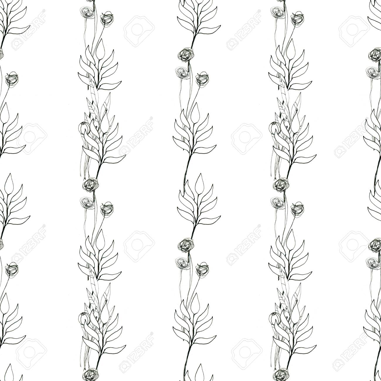 Seamless Floral With Abstract Black And White Flowers Floral