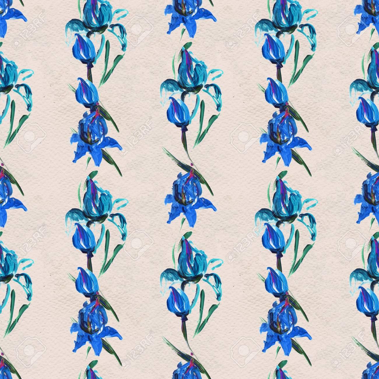Patron Sin Fisuras Con Flores Azules Fondo Floral De La Acuarela