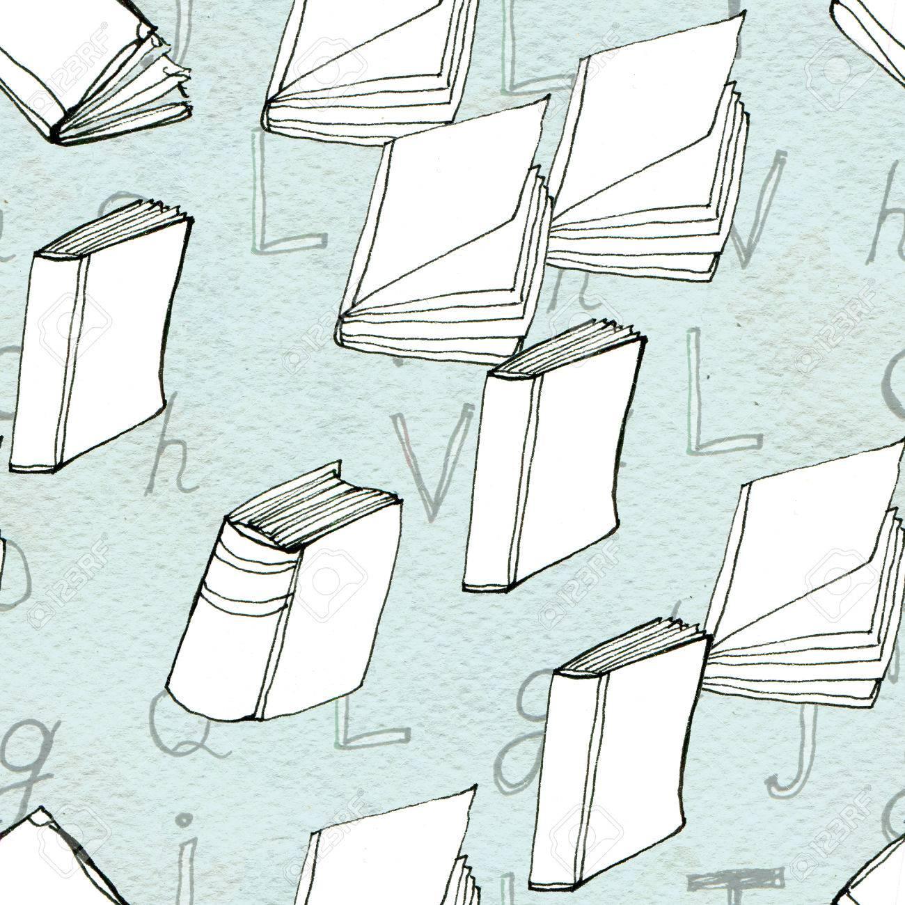 Nahtloses Gekritzelmuster Mit Büchern. Bibliothek Hand Gezeichnete ...