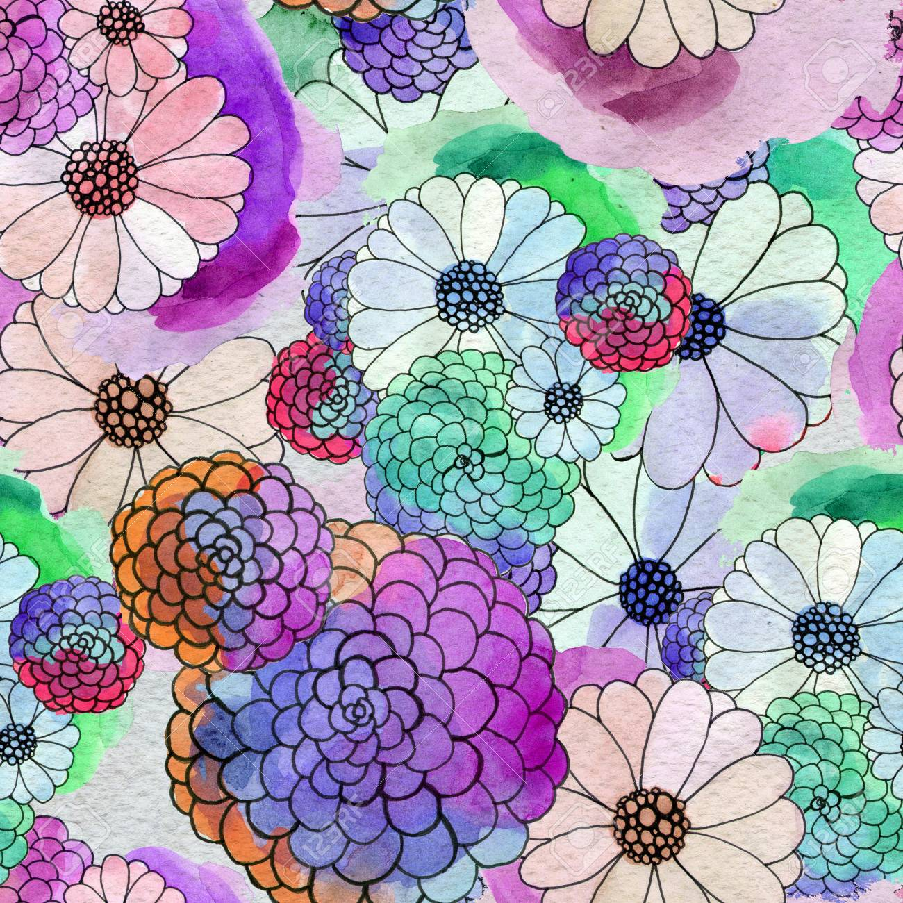 Seamless Floral Pattern With Asters And Daisy Flowers Stock Photo