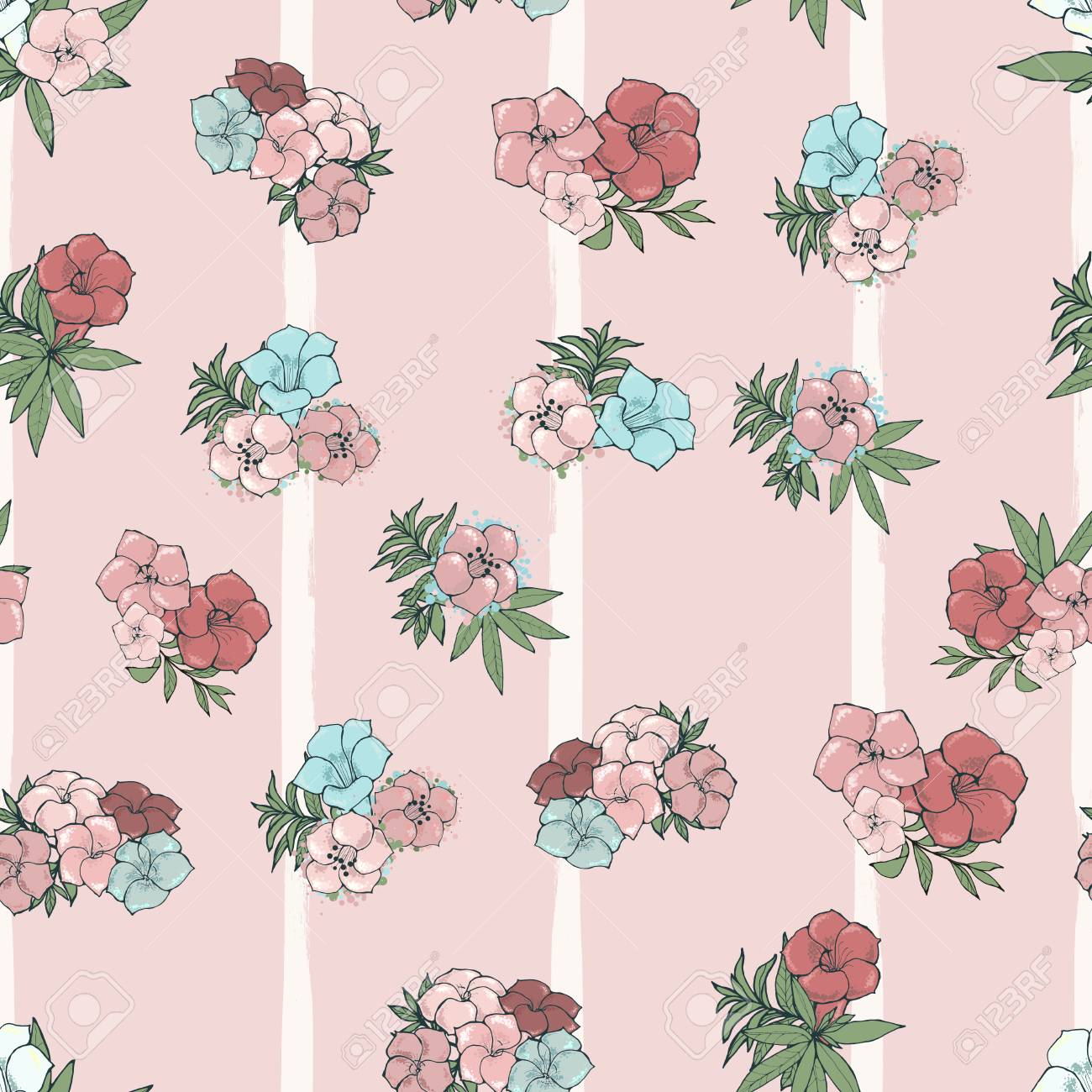 Vector Seamless Pattern Exotic Pink And Blue Flowers On Striped