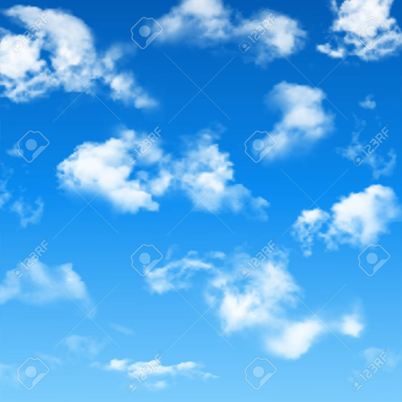 Blue sky with realistic clouds  Vector background