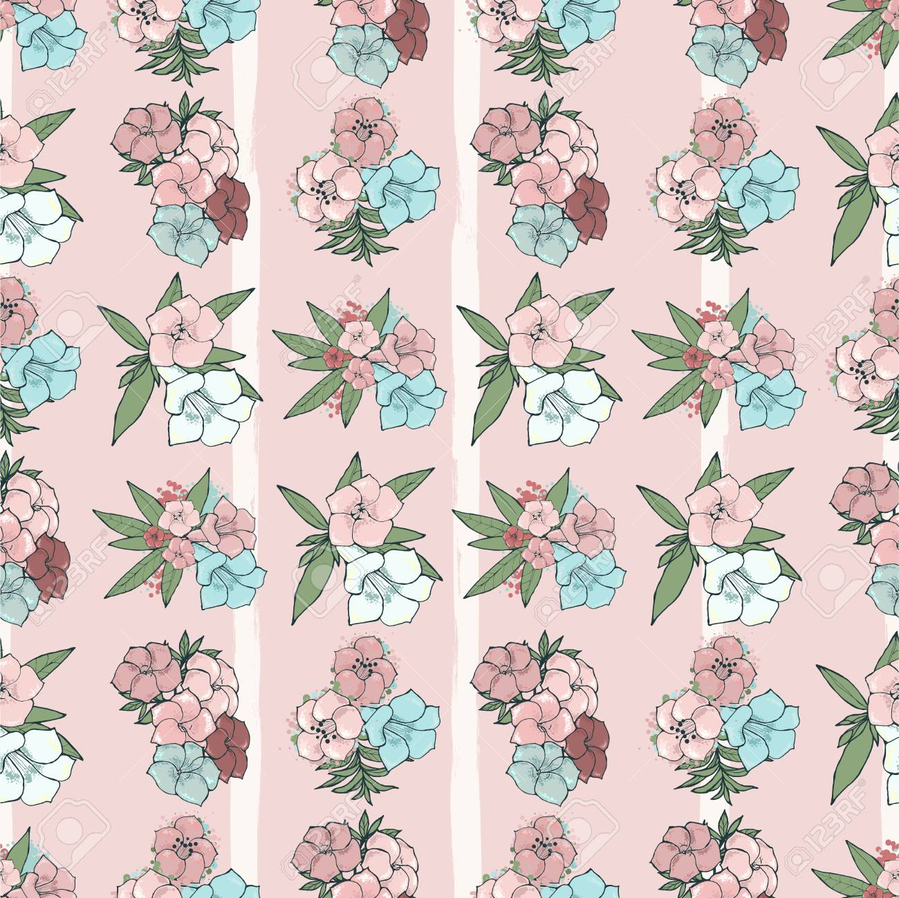 Vector seamless pattern exotic pink and blue flowers on striped illustration vector seamless pattern exotic pink and blue flowers on striped background floral wallpaper hand drawn illustration izmirmasajfo