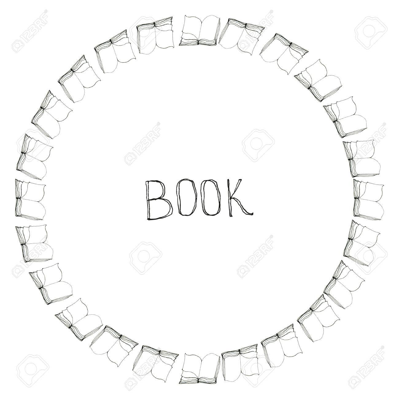 Libro Marco Del Doodle. Borde De Círculo Blanco Y Negro. Concepto De ...