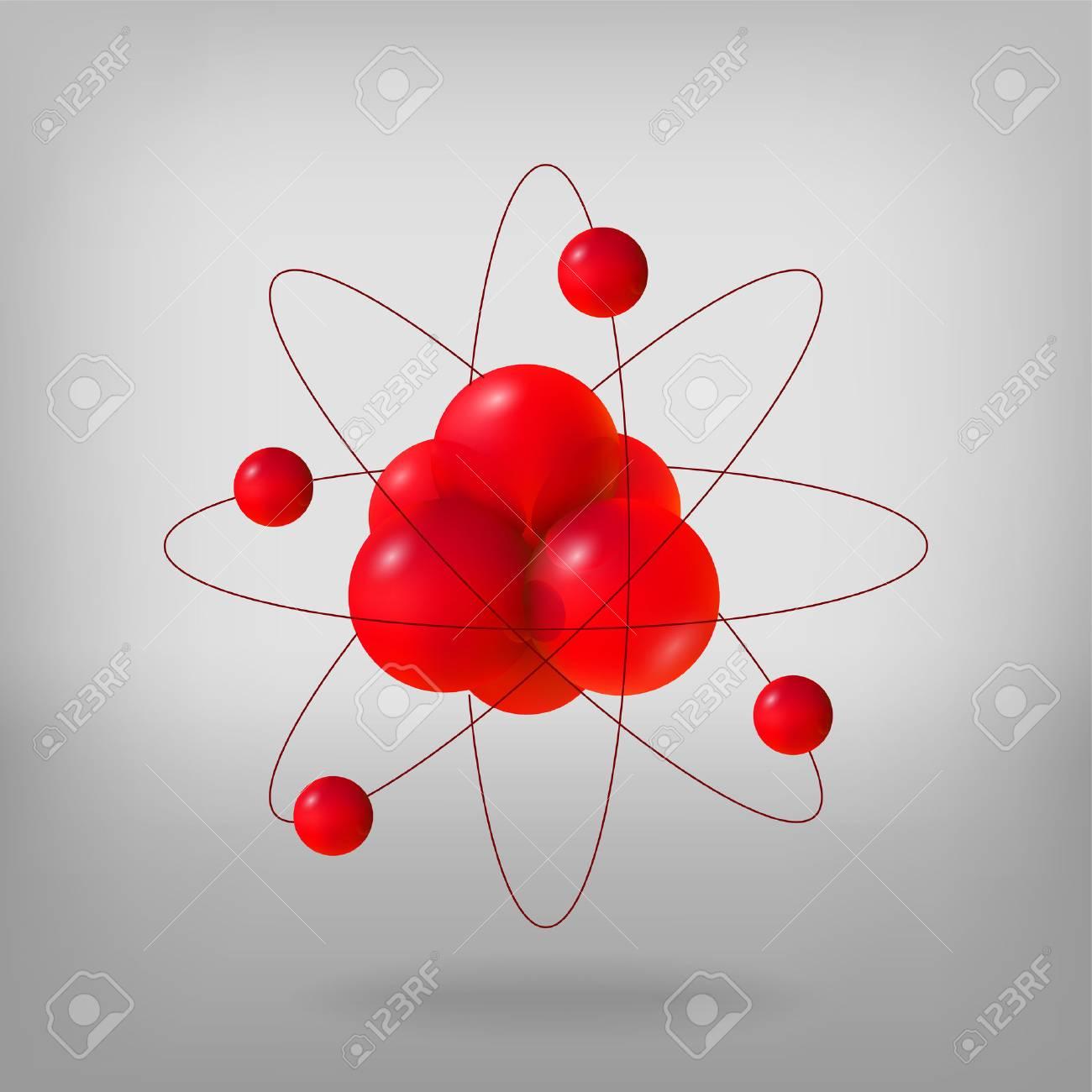 Moléculas Abstractas átomos 3d Vector Illustration Protones Neutrones Y Electrones Concepto De Ciencia Energía Nuclear