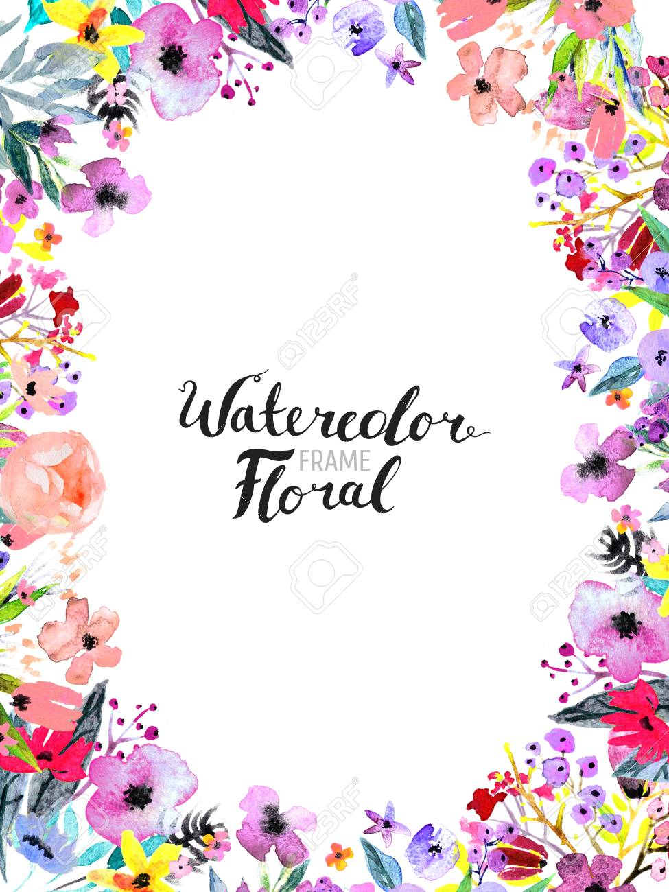 Watercolor floral background hand painted border of flowers hand painted border of flowers good for invitations and greeting cards frame isolated on white and brush lettering rose poppy and peony illustration m4hsunfo