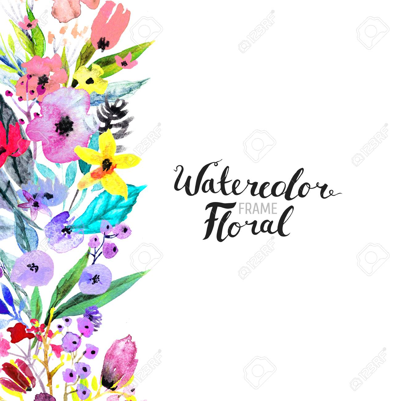 watercolor floral background hand painted border of flowers