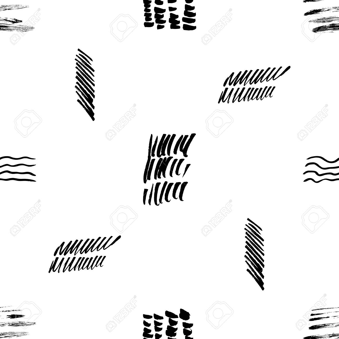 Seamless Pattern Hand Drawn With A Brush Strokes Abstract Black And White Paint Brushstrokes Vector Illustration Grunge Monochrome Background Good