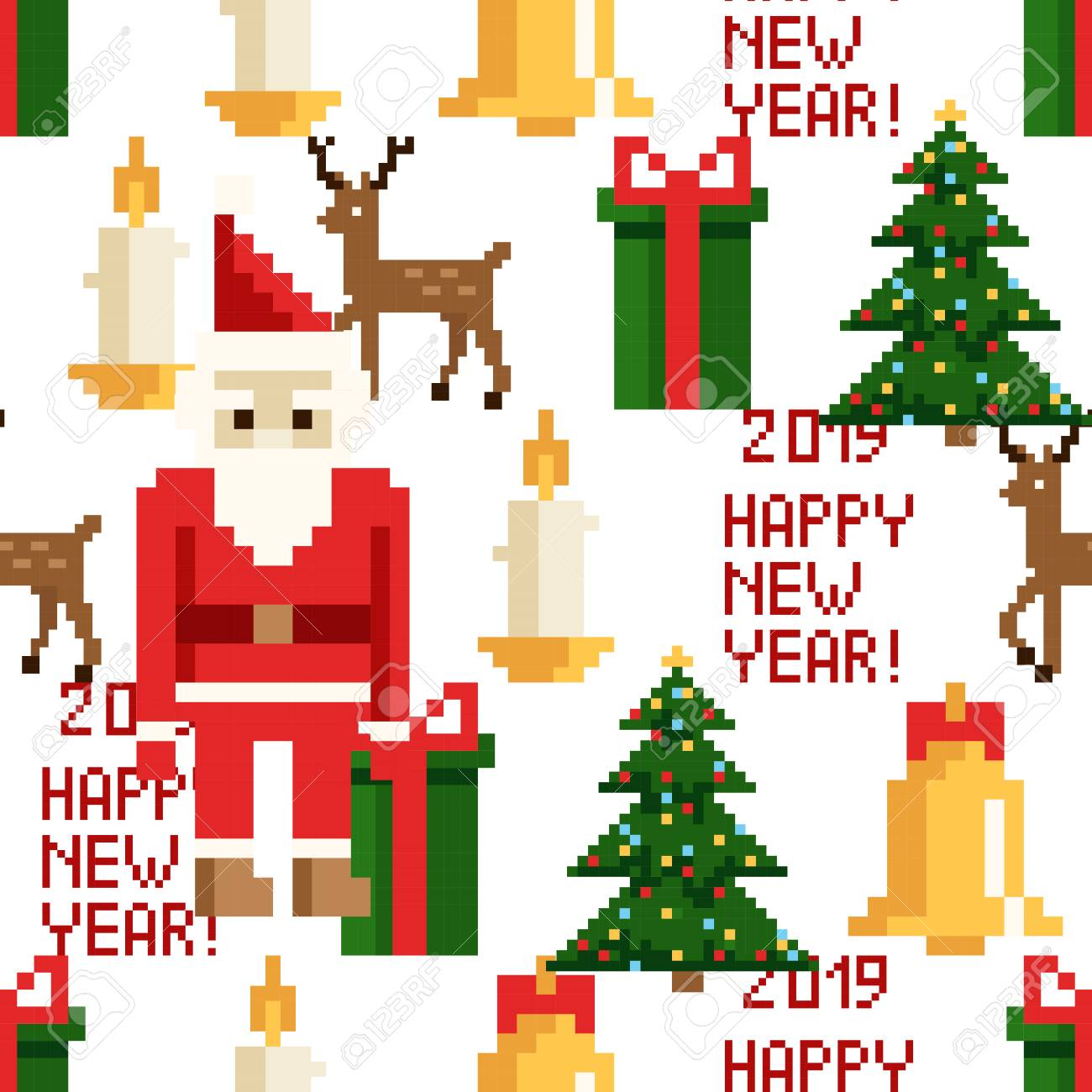 90s Christmas Tree Decorations.Christmas Pixel Seamless Pattern Arcade Games New Year And Xmas
