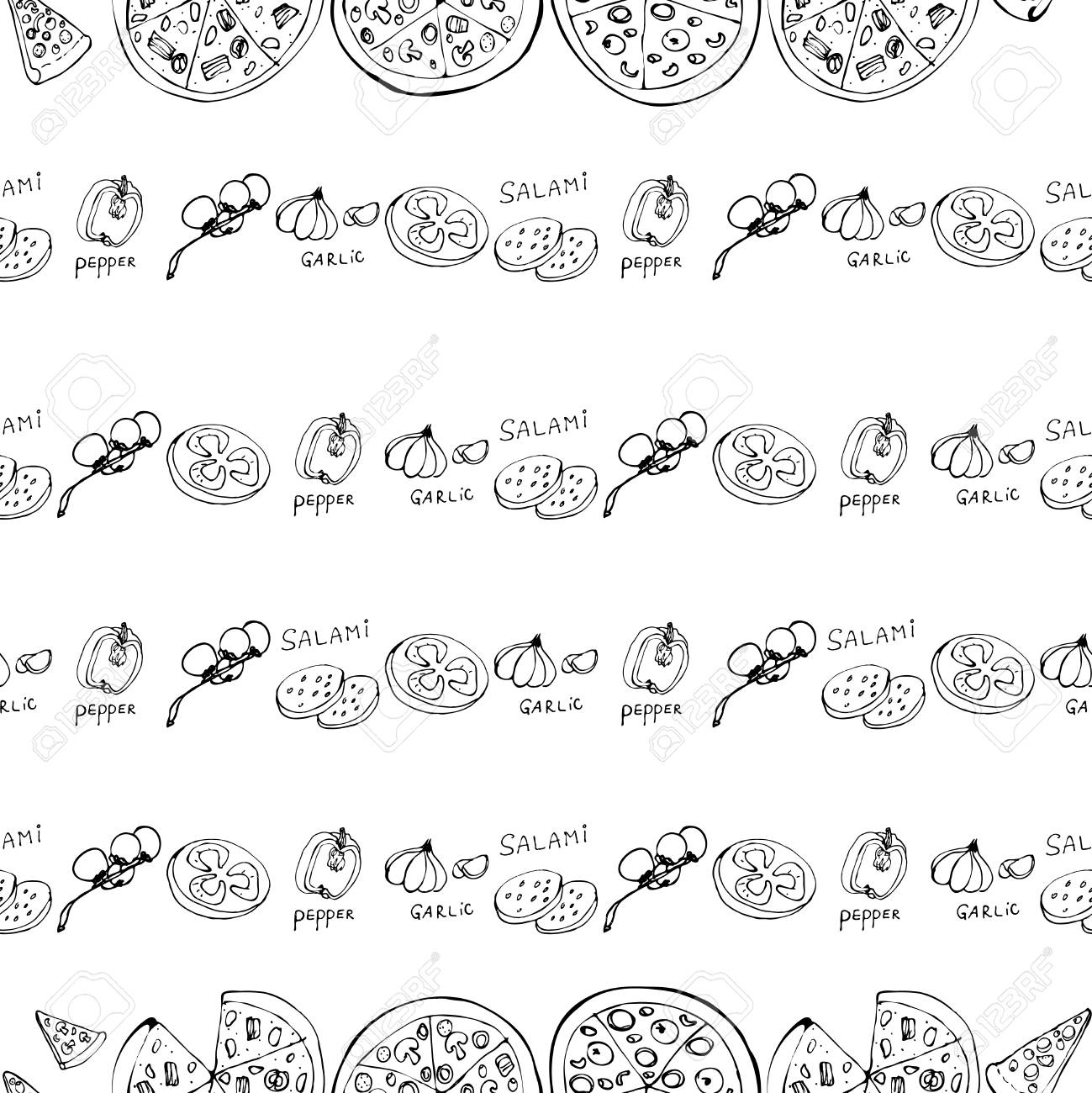Seamless pattern with hand drawn pizza slices. Vector black and white food background. Monochrome design for fabric, wallpapers, wrapping paper, cards and web. Doodle art. Sketch cooking ingridients - 124733469