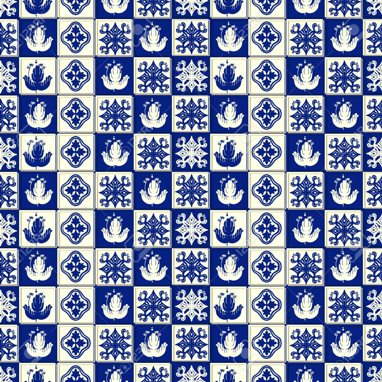 Vector ceramic tile pattern, Lisbon floral mosaic, Mediterranean seamless navy blue ornament. Portuguese azulejo background - 128873330