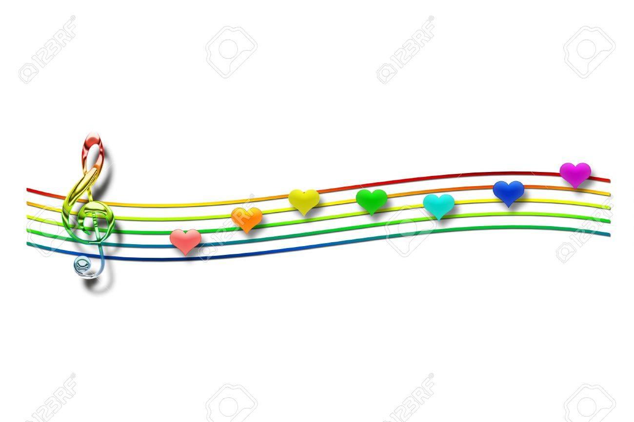 Notas Musicales En Forma De Corazón Sobre Un Fondo Blanco Fotos
