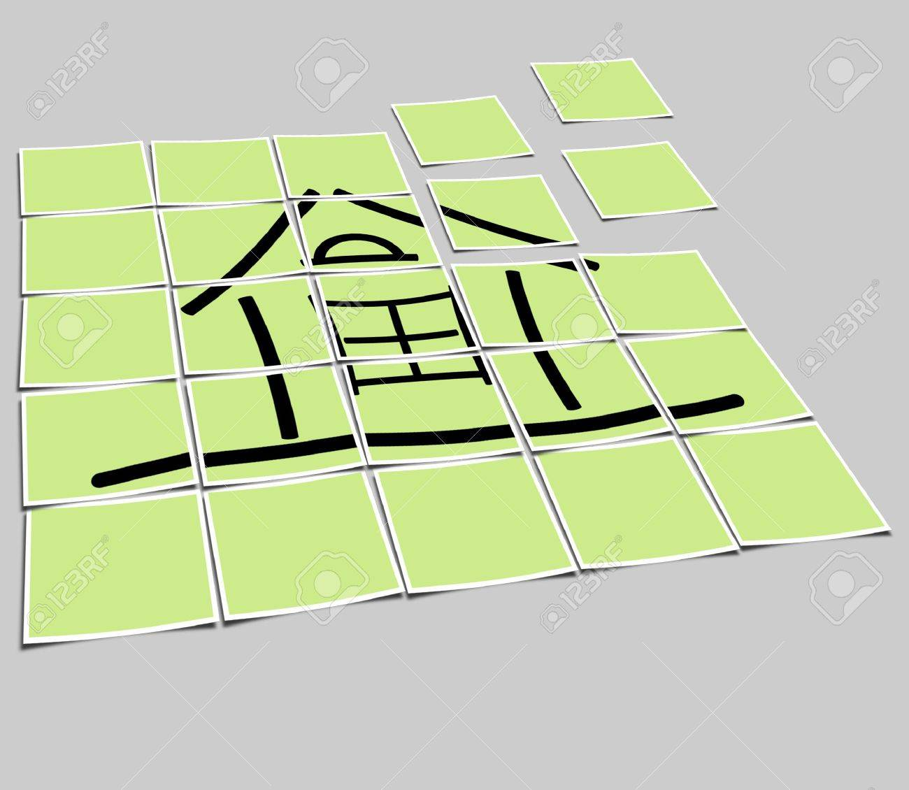 The image of the sketch of the house on a green background Stock Photo - 5761121