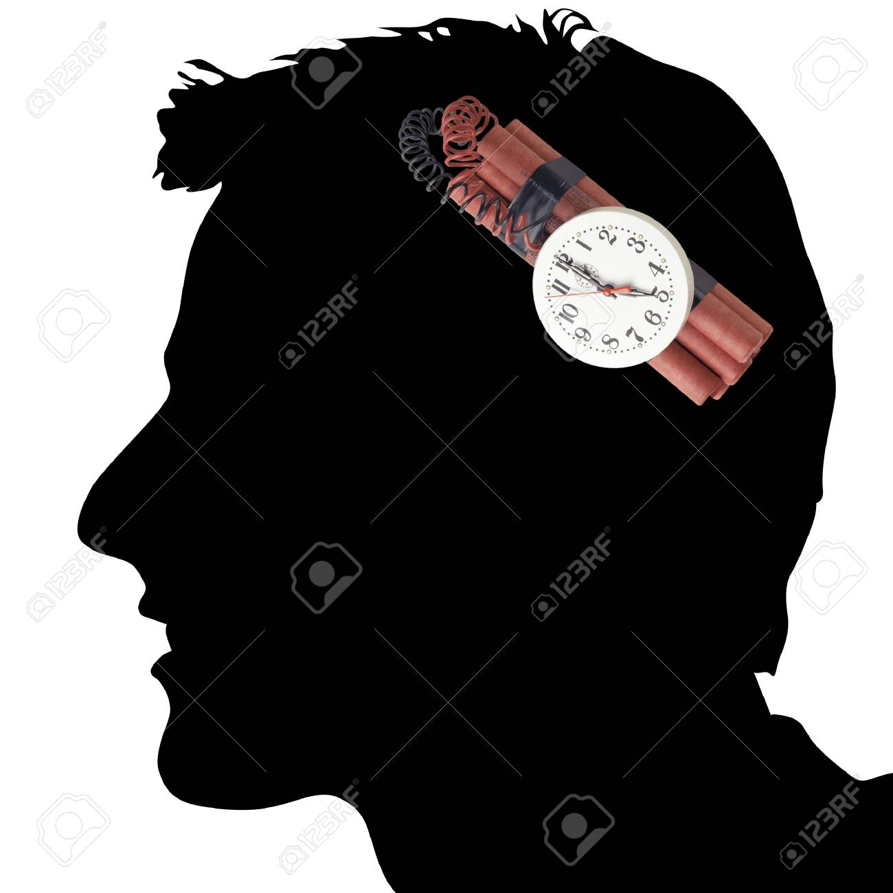 Illustration of a dangerous dynamite in a head at the man Stock Illustration - 6015954