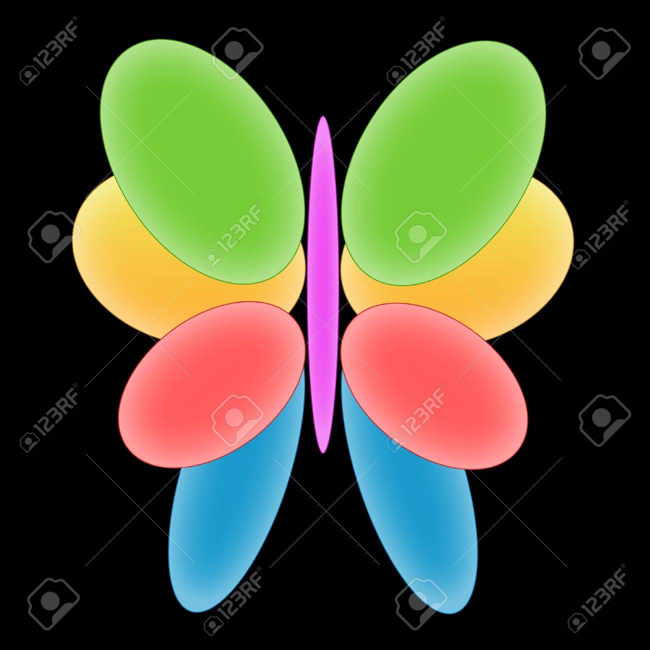 Illustration of the colourful butterfly on a black background Stock Photo - 6026606