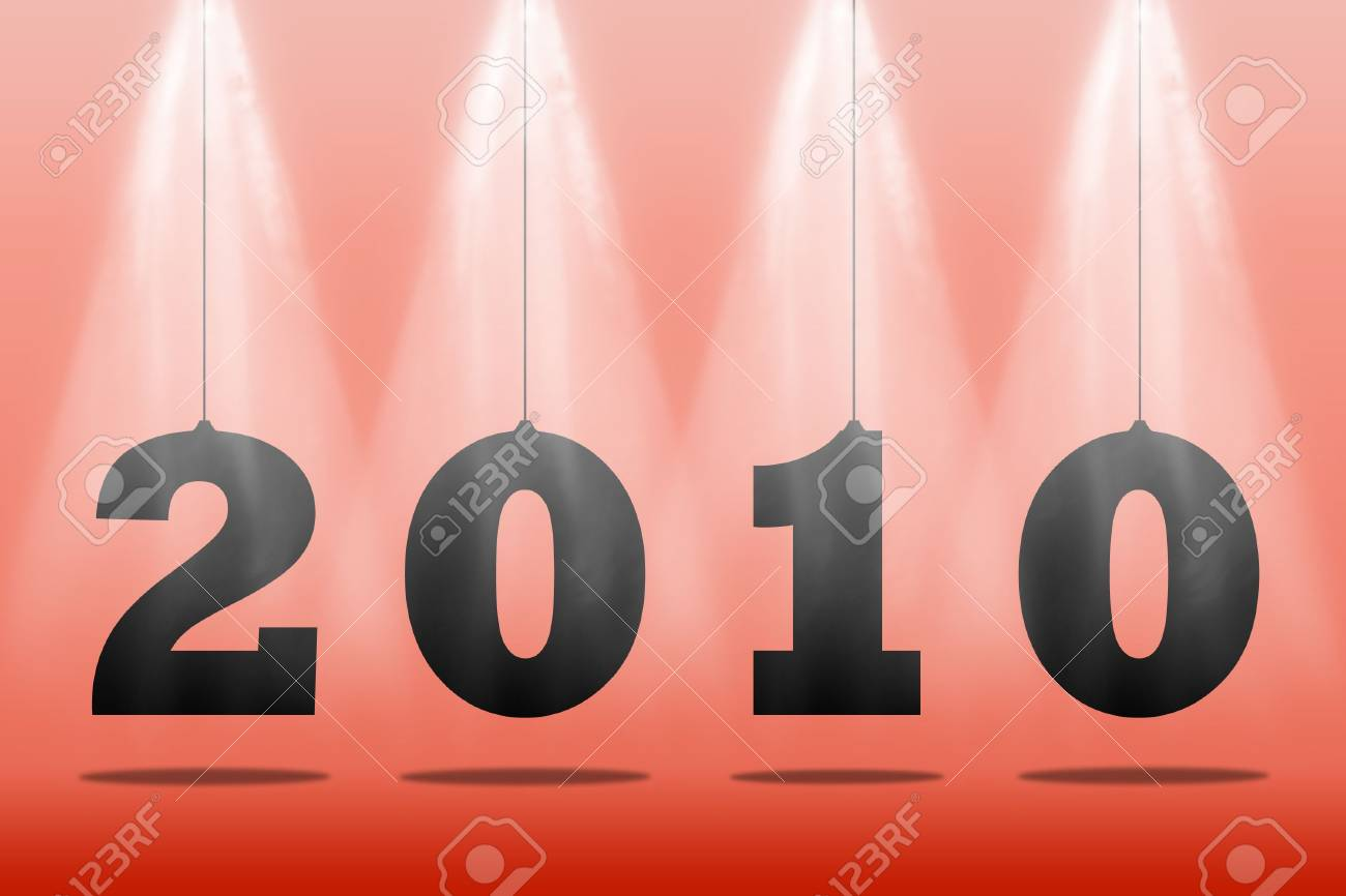 Illustration of numbers of new 2010 on a red background Stock Illustration - 6124237
