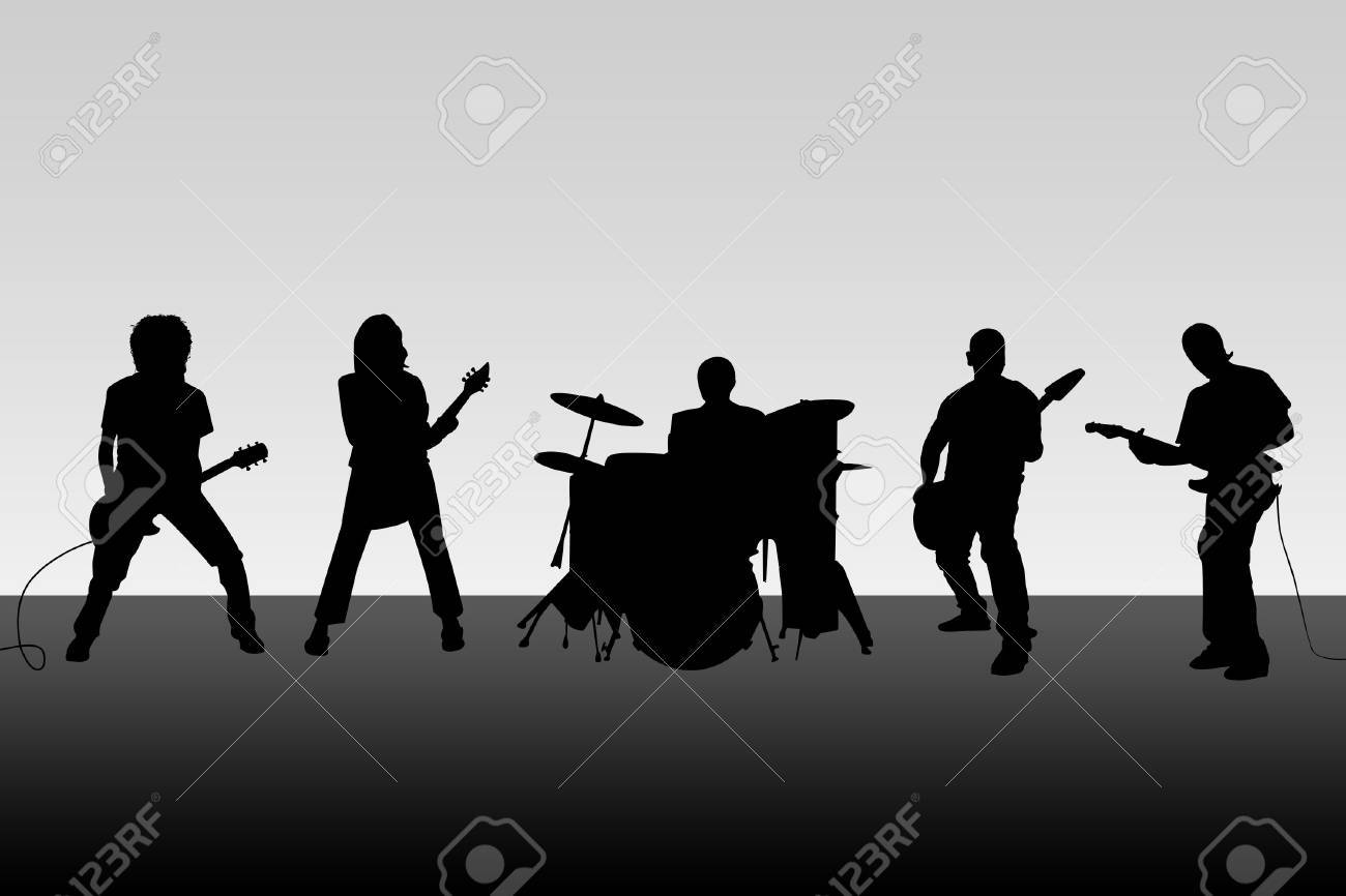 The musical group acts on the big scene Stock Photo - 6409192