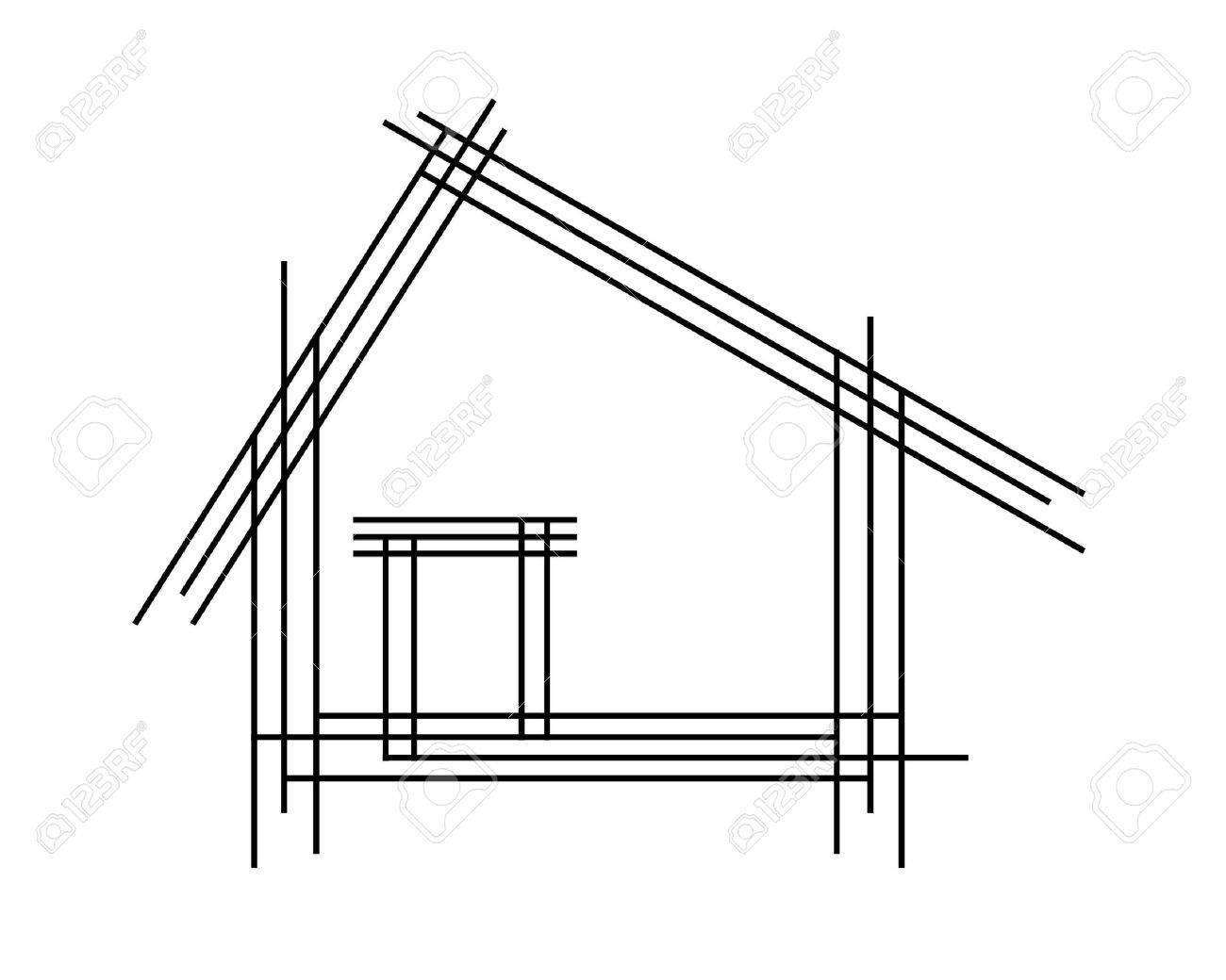 Schematic Drawing Of The House As A Logo